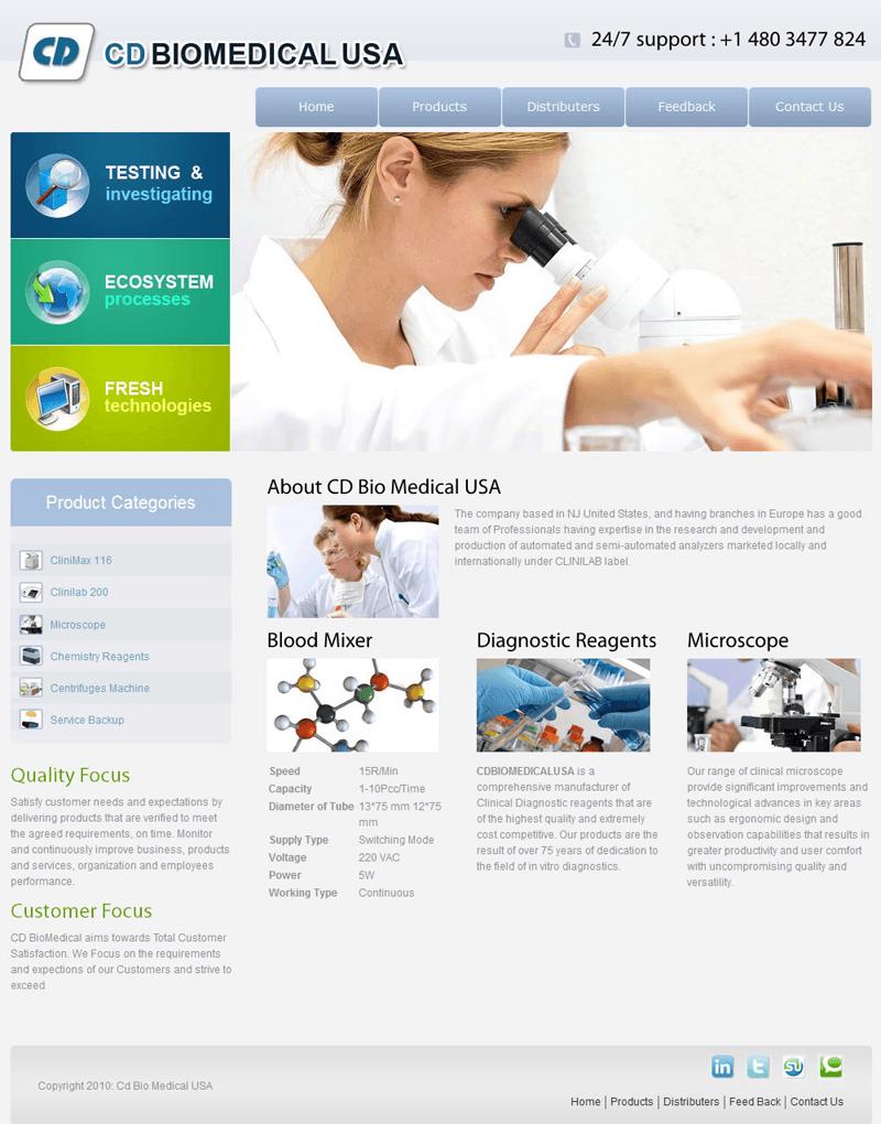 CD Biomedical USA Custom CMS website Designed and Developed.