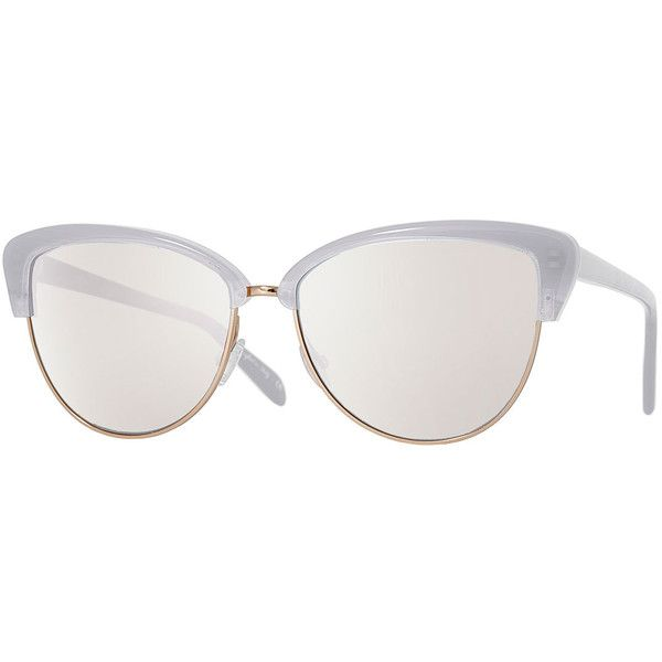 Oliver Peoples Alisha Cat-Eye Sunglasses (390 BRL) ❤ liked on Polyvore featuring accessories, eyewear, sunglasses, white, oversized sunglasses, oversized cateye sunglasses, mirror sunglasses, white cat eye sunglasses and mirrored lens sunglasses