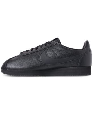 best service c6bef 89b86 Nike Men s Classic Cortez Leather Casual Sneakers from Finish Line - Black  10.5