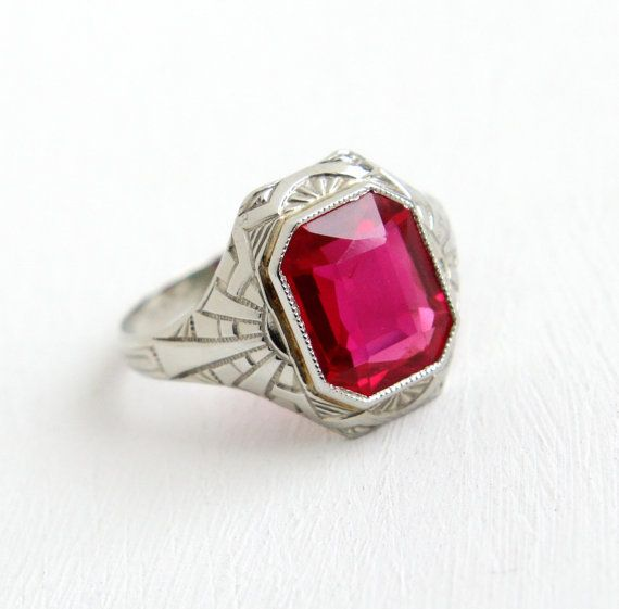 Sale Vintage 10k White Gold Created Ruby Ring Antique Size 7 1 4 Art Deco 1920s Pink Stone Ring Fine Antique Jewelry Pink Stone Rings Antique Rings Vintage