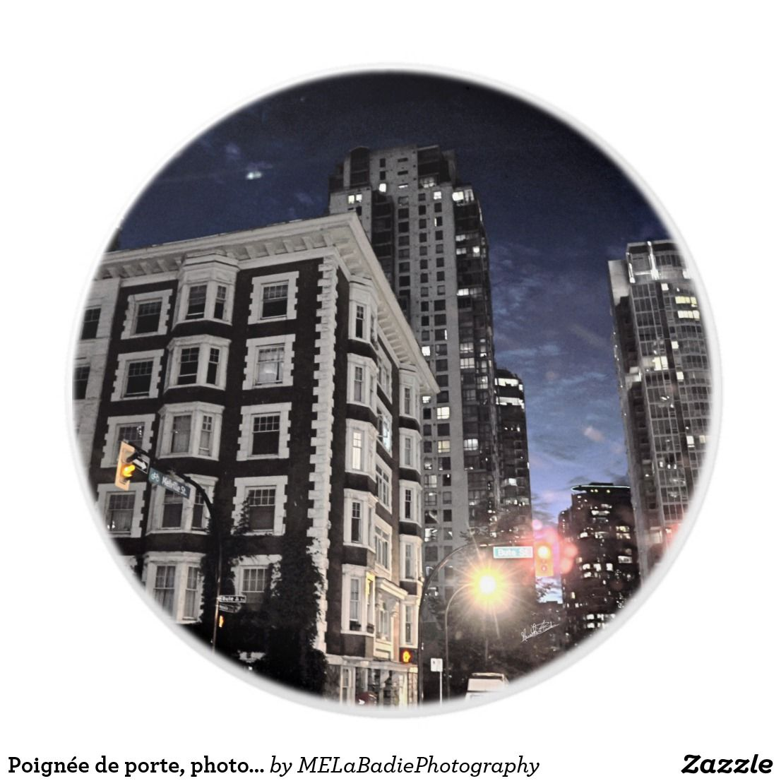 Poignée de porte, photo de ville la nuit
