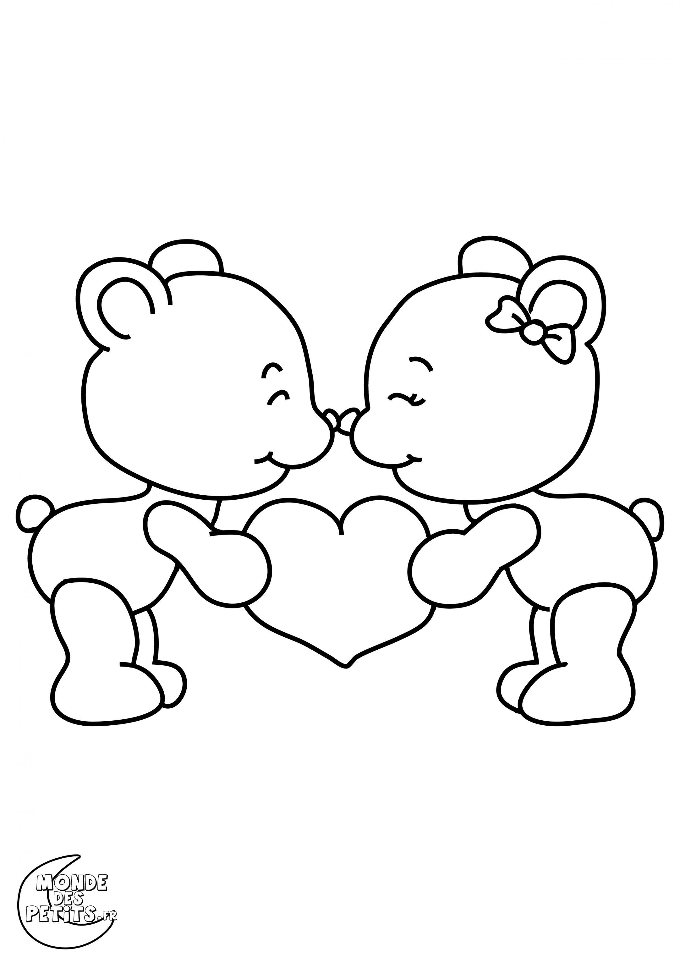 Coloriage St Valentin Gratuit  Coloriage st valentin, Dessin