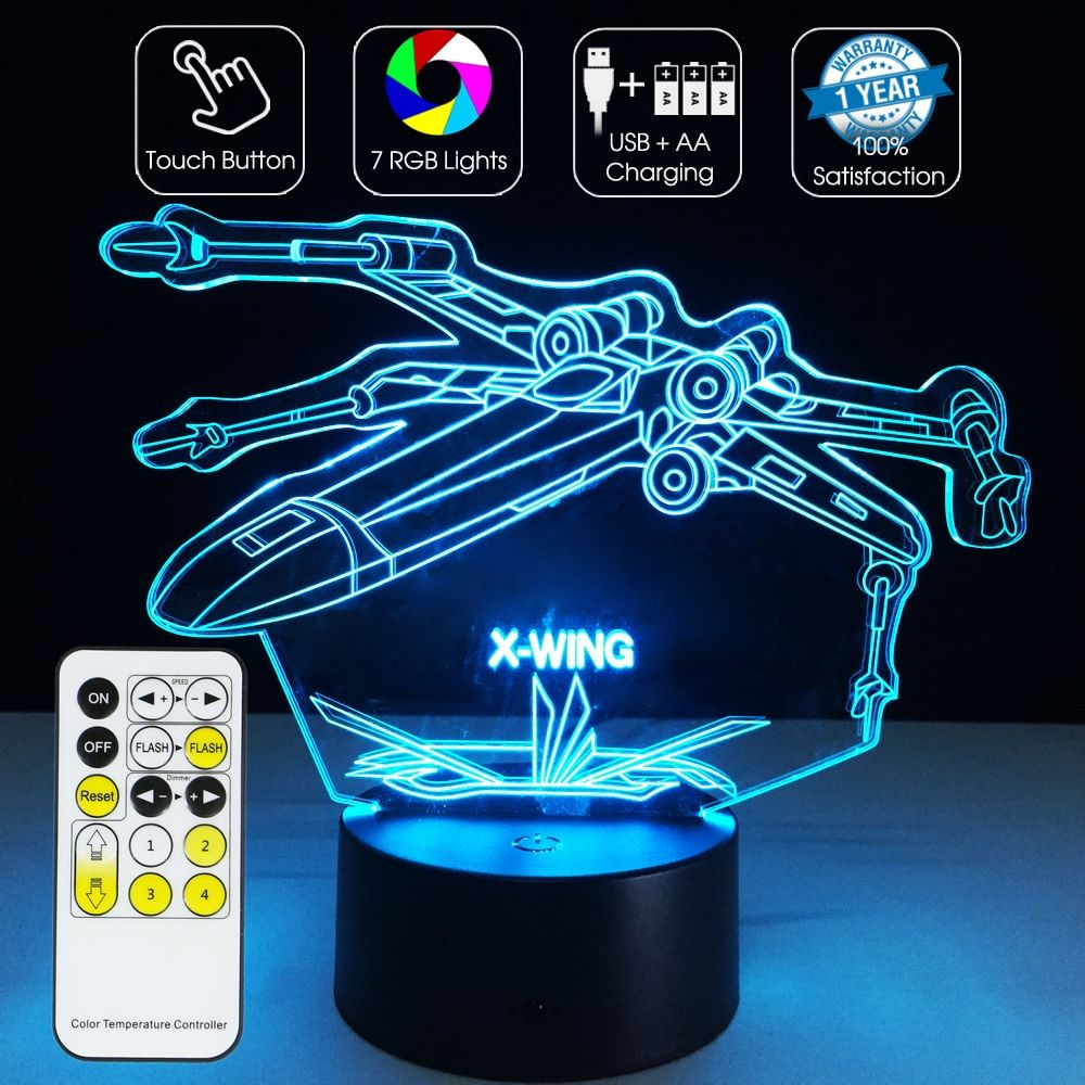 3d Optical Illusion Lamp X Wing Fighter Star Wars 3d Optical Illusions Optical Illusions Mood Lamps