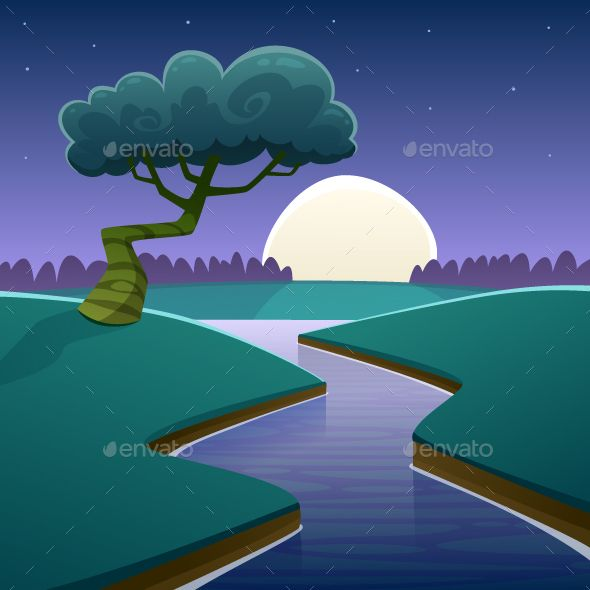 Night Cartoon Landscape Landscape Drawings Landscape Illustration Cartoon Illustration Abstract graphic nature eco pictures simple growth plants vector emblem. night cartoon landscape landscape