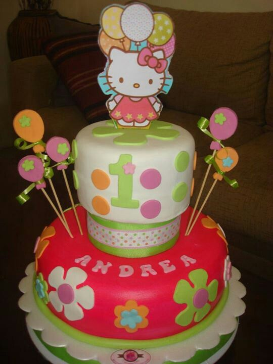 Hello Kitty 1st Birthday Cake Hello Kitty Party Pinterest