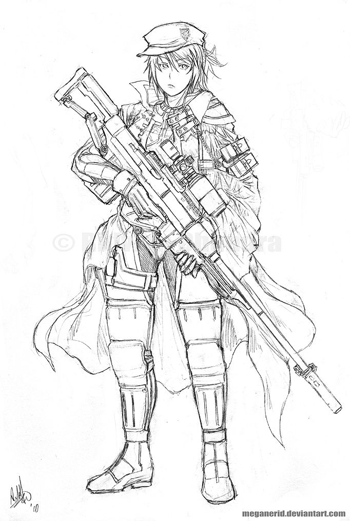 Just a girl holding a sniper rifle Another early year work