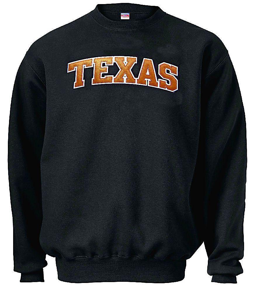 Texas Longhorns Black Embroidered Collegiate Crewneck Champion Sweatshirt Sweatshirts Champion Sweatshirt Texas Longhorns [ 1001 x 870 Pixel ]