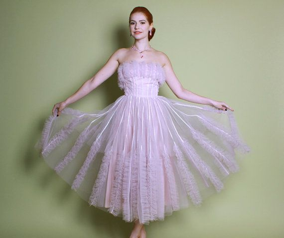 50s Pale Pink Tulle Cupcake PROM DRESS / by LuckyDryGoods on Etsy ...