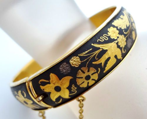 Vintage Gold Damascene Bird Bracelet Bangle Flower Black Niello