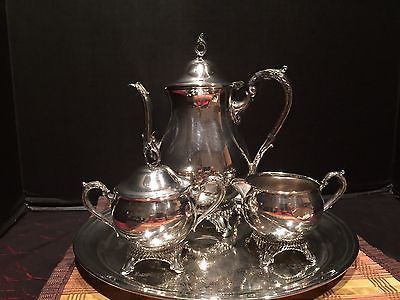 Vintage Raimond Silver-Plated 4 Piece Coffee/Tea Set With Serving Tray : silver plated tea set and tray - pezcame.com