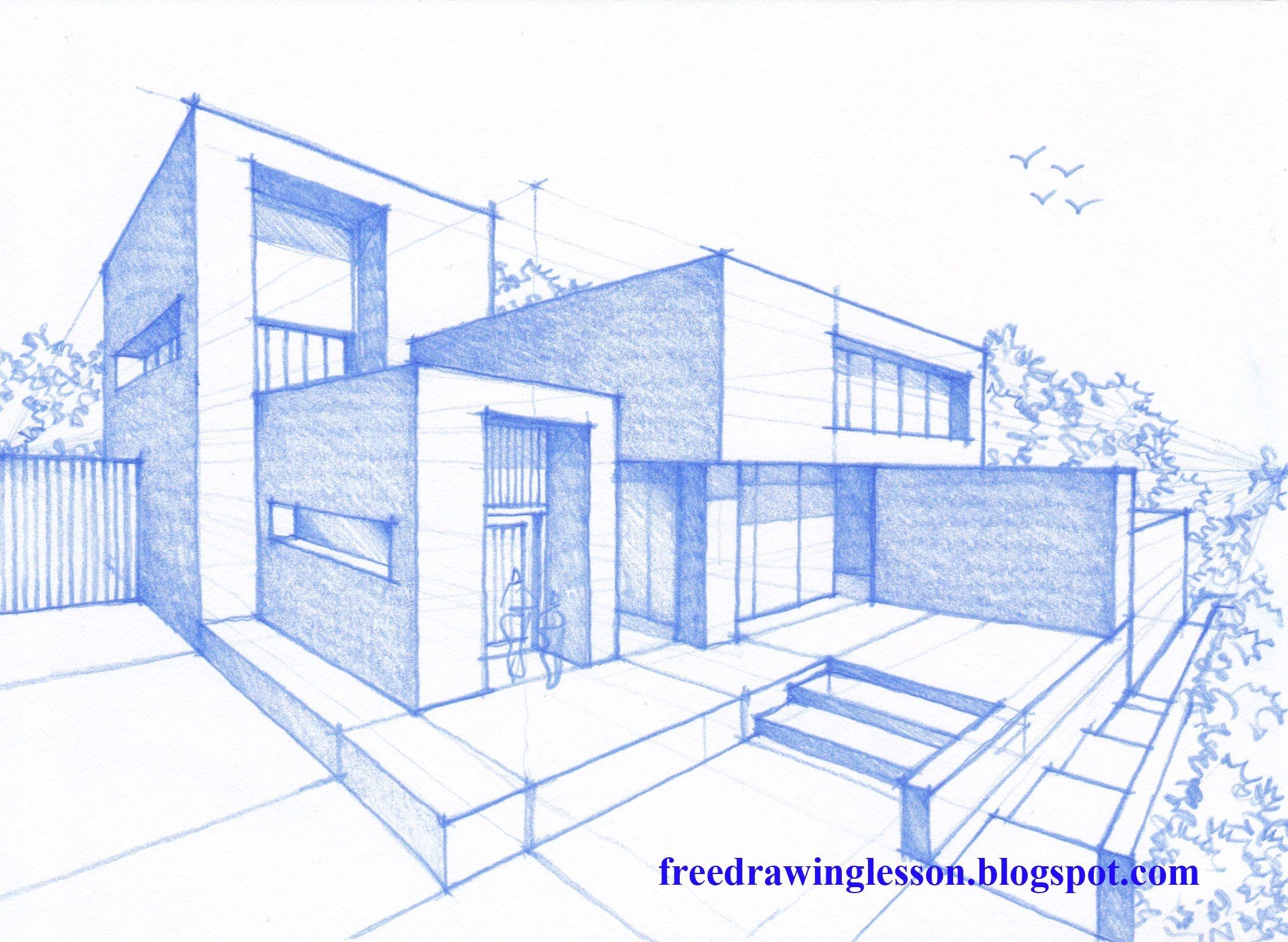 Let us try to draw this house design by following the step for Architecture house drawing