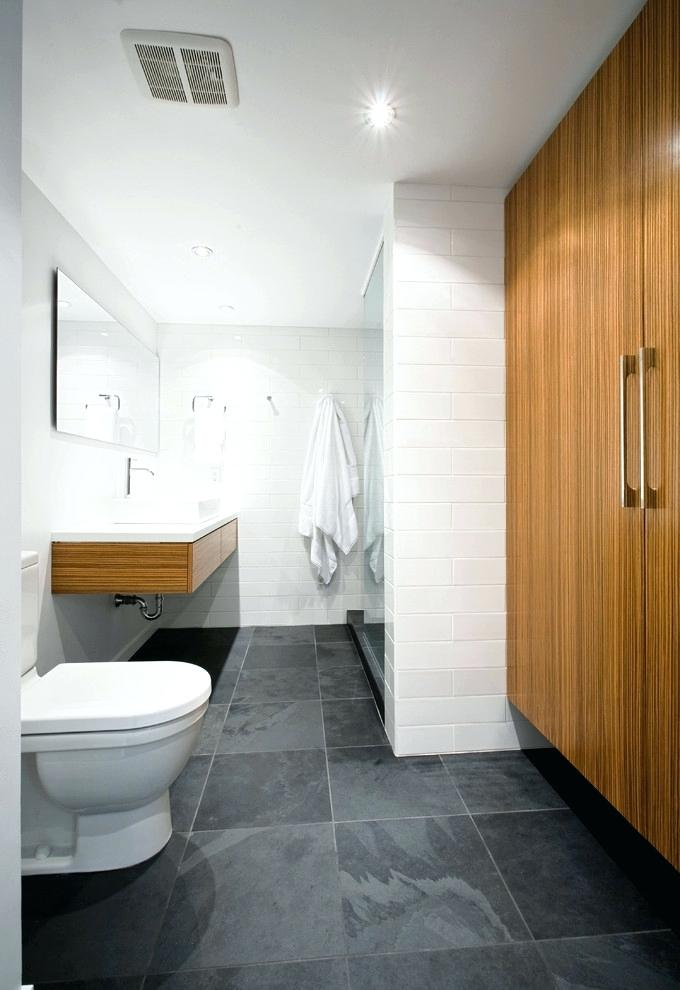Hall Bath Dark Slate Gray Black Floor White Subway Walls Wood