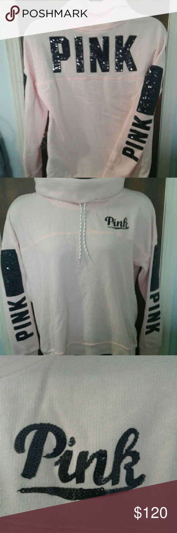 Victoria Secret Pink bling cowl neck pullover Brand new Victoria's Secret pink bling cowl neck pullover PINK  Tops Tunics