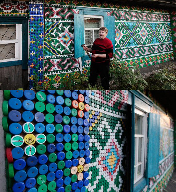 Amazing usage of bottle caps.  This fantastic work is by Olga Kostina, a Russian pensioner with a will to cross the boundaries of common rural home design.    Freshome.com