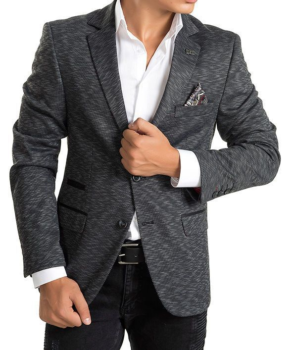 Key Pattern Two Button Notch Lapel Blazer