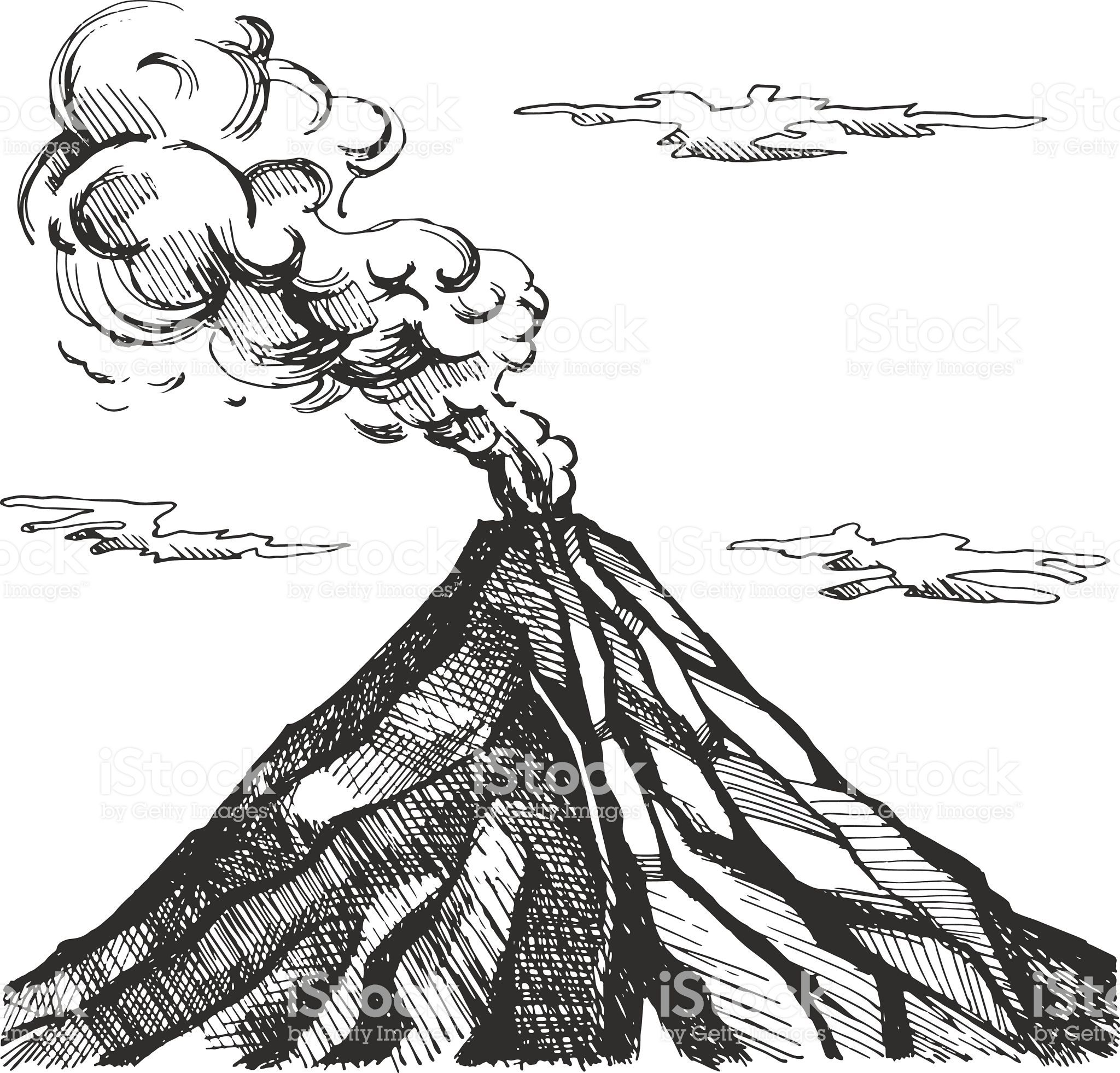 Vector Sketch Of The Volcano The Eruption And Smoke