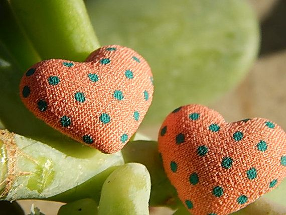 Heart shaped peach pink with turquoise polka by TheSnowglobeRing, $5.89