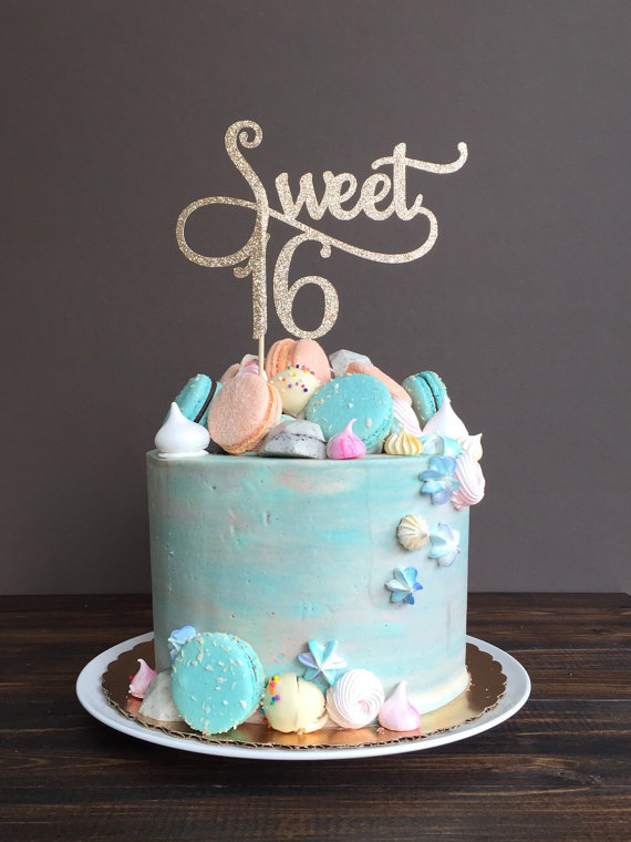 La torta de Sweet 16 sweet 16 decoraciones de cumpleaños la & Sweet 16 cake topper sweet 16 birthday decorations birthday cake ...