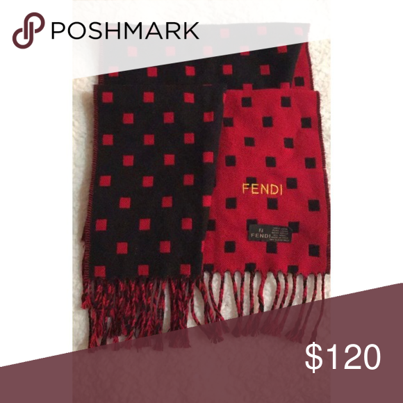 89f62ccd Fendi reversible scarf 🧣 Vintage wool scarf, reversible red with ...