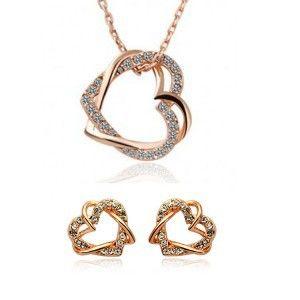 Hot Selling Nieuwe Freeshipping Party 2014 Plated Mode-sieraden Sets Hartvorm Pandants Kettingen Stud Earring voor Vrouwen