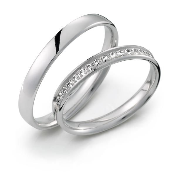 Alianzas Oro Blanco Y Diamantes Anillos De Casados Anillos De Compromiso Anillo De Matrimonio