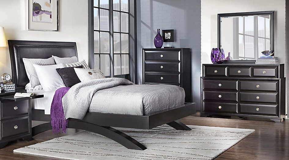 picture of Belcourt Black 5 Pc King Platform Bedroom from ...