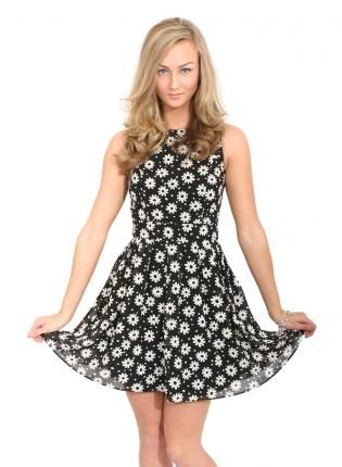 Black Casey Floral Chiffon Open Back Skater Dress,  Dress, Floral Chiffon Open Back Skater Dress, Casual