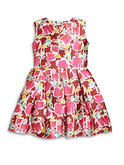 Oscar de la Renta - Toddler's & Girl's Blossom Sketch Mikado Silk-Blend Party Dress
