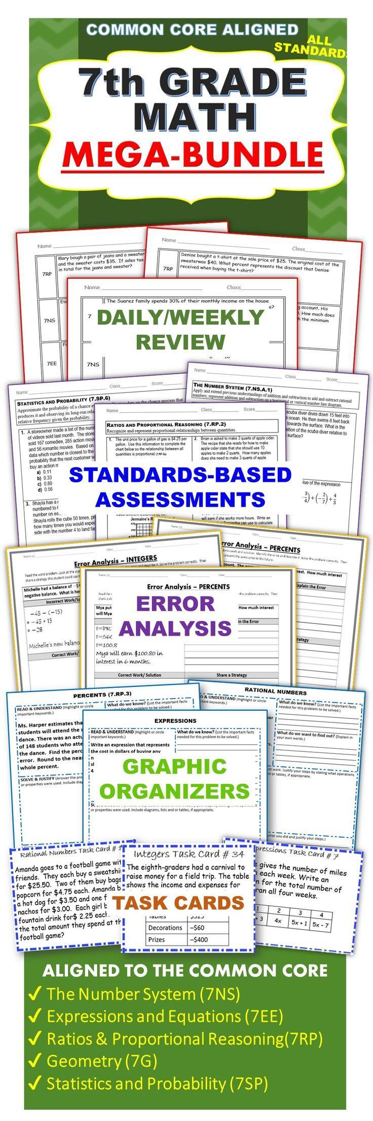 worksheet 7th Grade Math Assessment Worksheets 7th grade math common core bundle assessments warm ups task cards worksheets