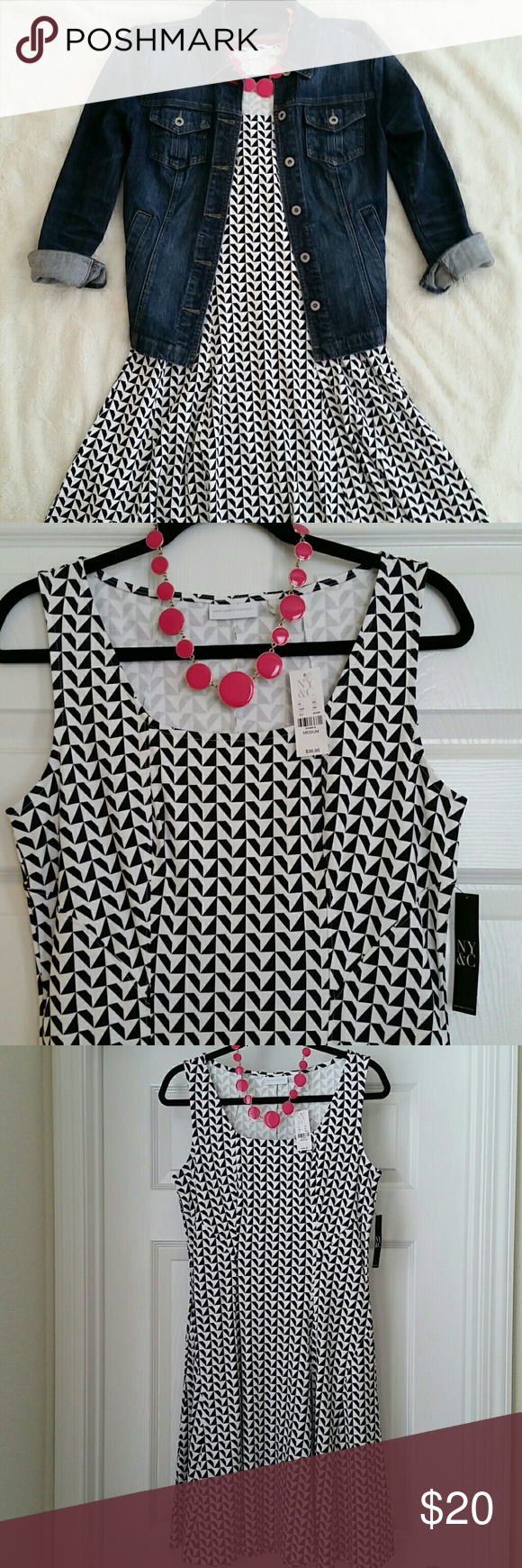 New York & Company Dress New York & Company, black and white geometric patterned dress. New with tags. I purchased on Poshmark but it doesn't fit me.  Asking what I paid for it. New York & Company Dresses