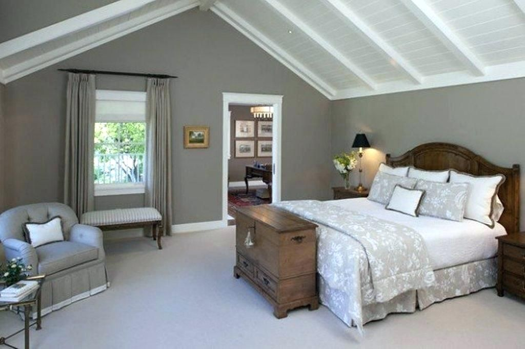 Half Vaulted Ceiling Master Bedroom Vaulted Bedroom Master Bedroom With Vaulted Ceiling With Oak Gray Master Bedroom Warm Grey Walls Traditional Bedroom Design
