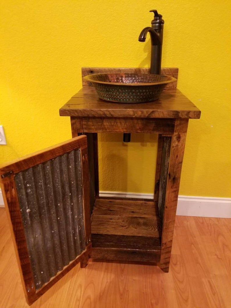 Rustic Barn Wood And Tin Vanity With Hammered Copper Vessel Sink