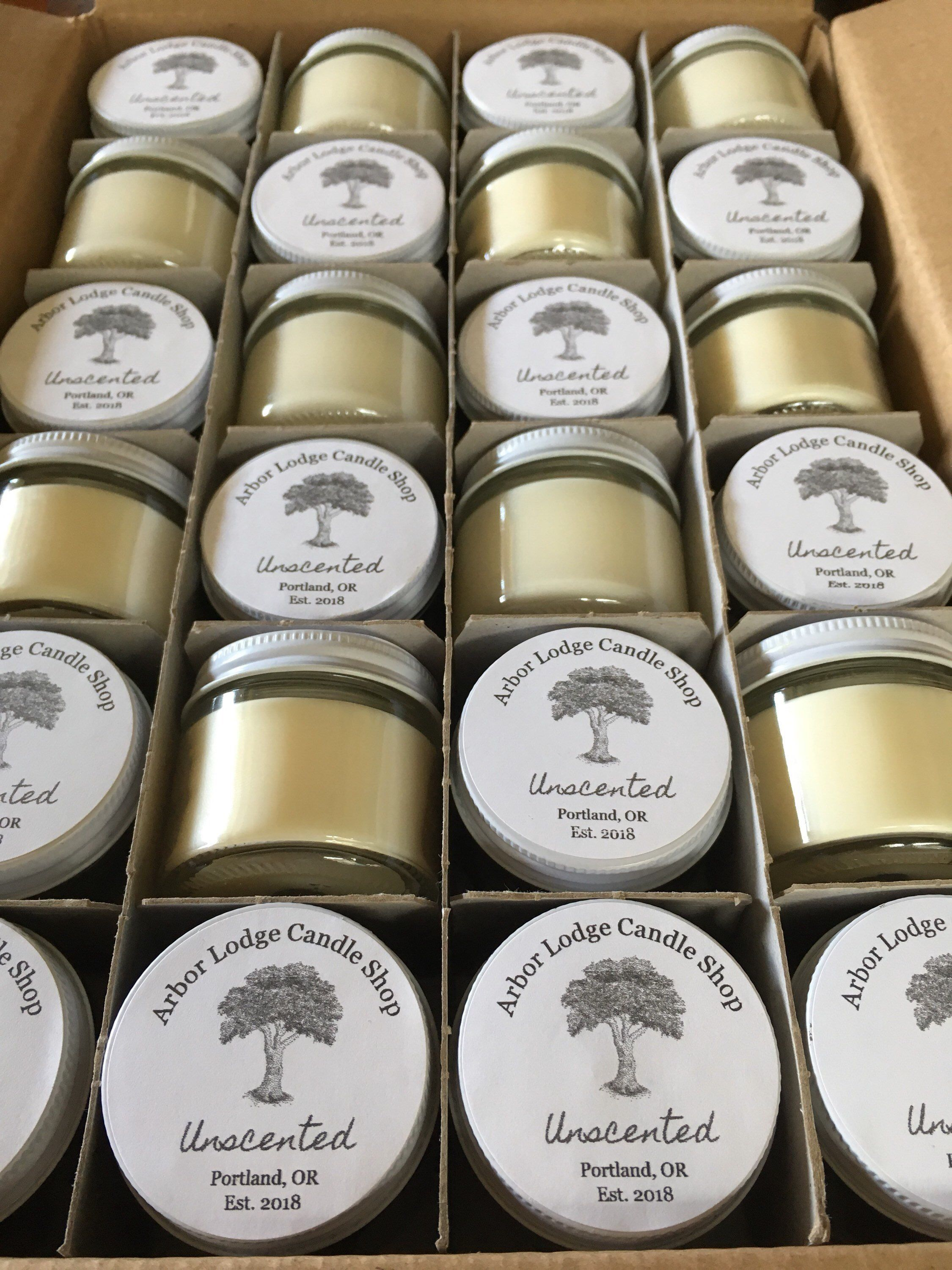 Bulk unscented soy mini candles in 2oz glass jars cases