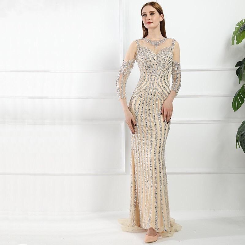1 Huda Beaded Long Sleeves Maxi Dress Mscooco Co Uk