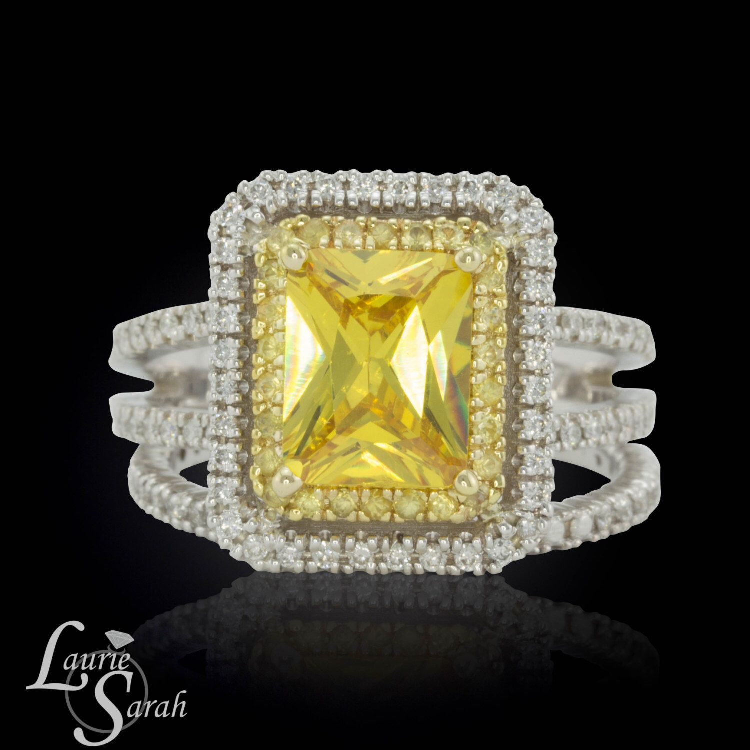 Yellow Sapphire and Diamond Double Halo Engagement Ring Set