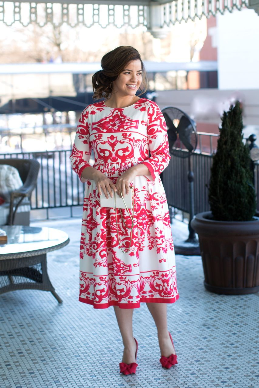 Modest red and white midi dress. Modest apparel, bridesmaid dresses ...