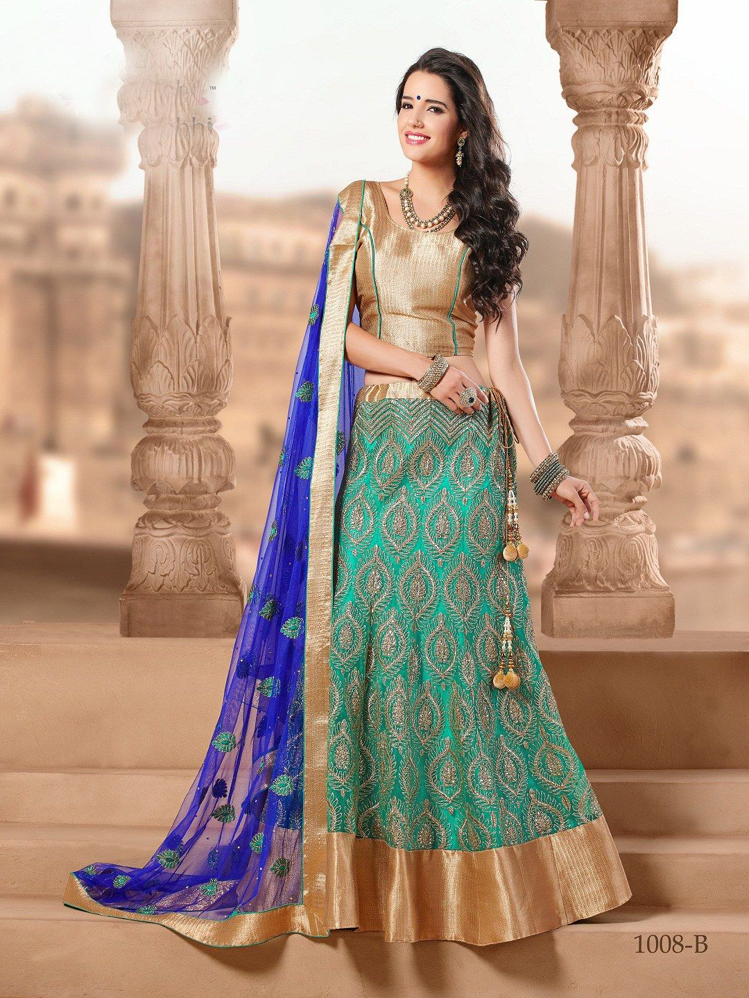 Image result for blue metallic gold brocade lehenga