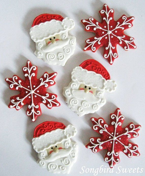 Santa Face & Snowflake Sugar Cookies, Christmas Cookies (1 dozen) #cinnamonsugarcookies
