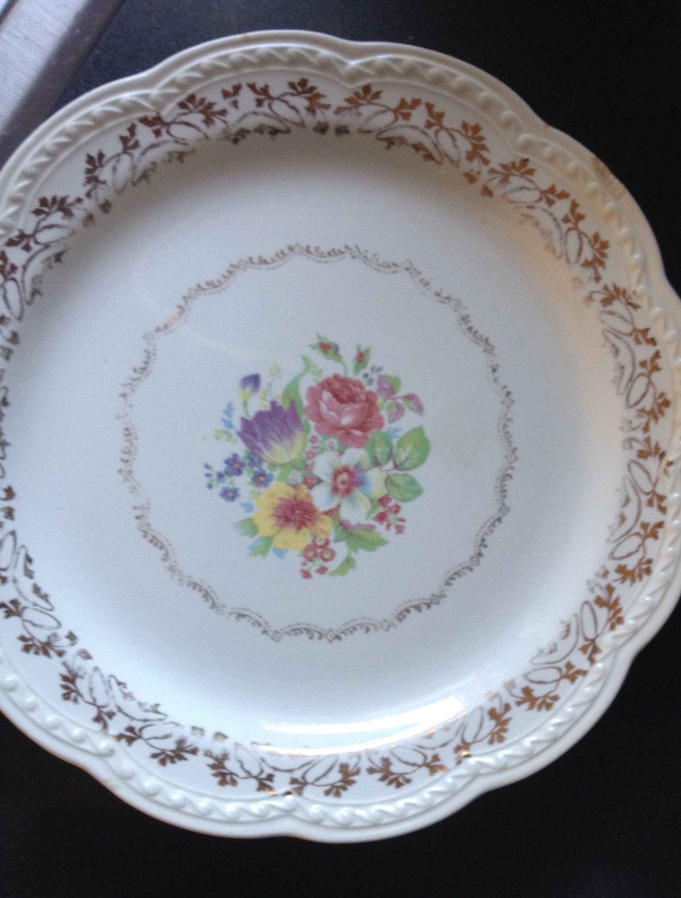 best sneakers competitive price usa cheap sale Stetson China Dinner Plate. Floral Pattern 22kt gold trim ...
