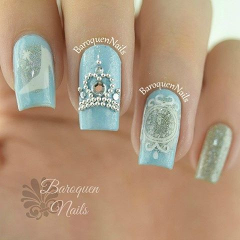 Nail Art Designs On Instagram 3d Nail Art Cinderella Hopefully This Makes Up For All Of My Lame Halloween Nail Art Disney Quinceanera Nails Disney Nails