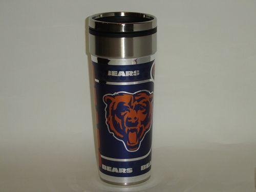 NFL Chicago Bears 16oz Travel Mug Tumbler with Metallic Wrap Team Logo Mug