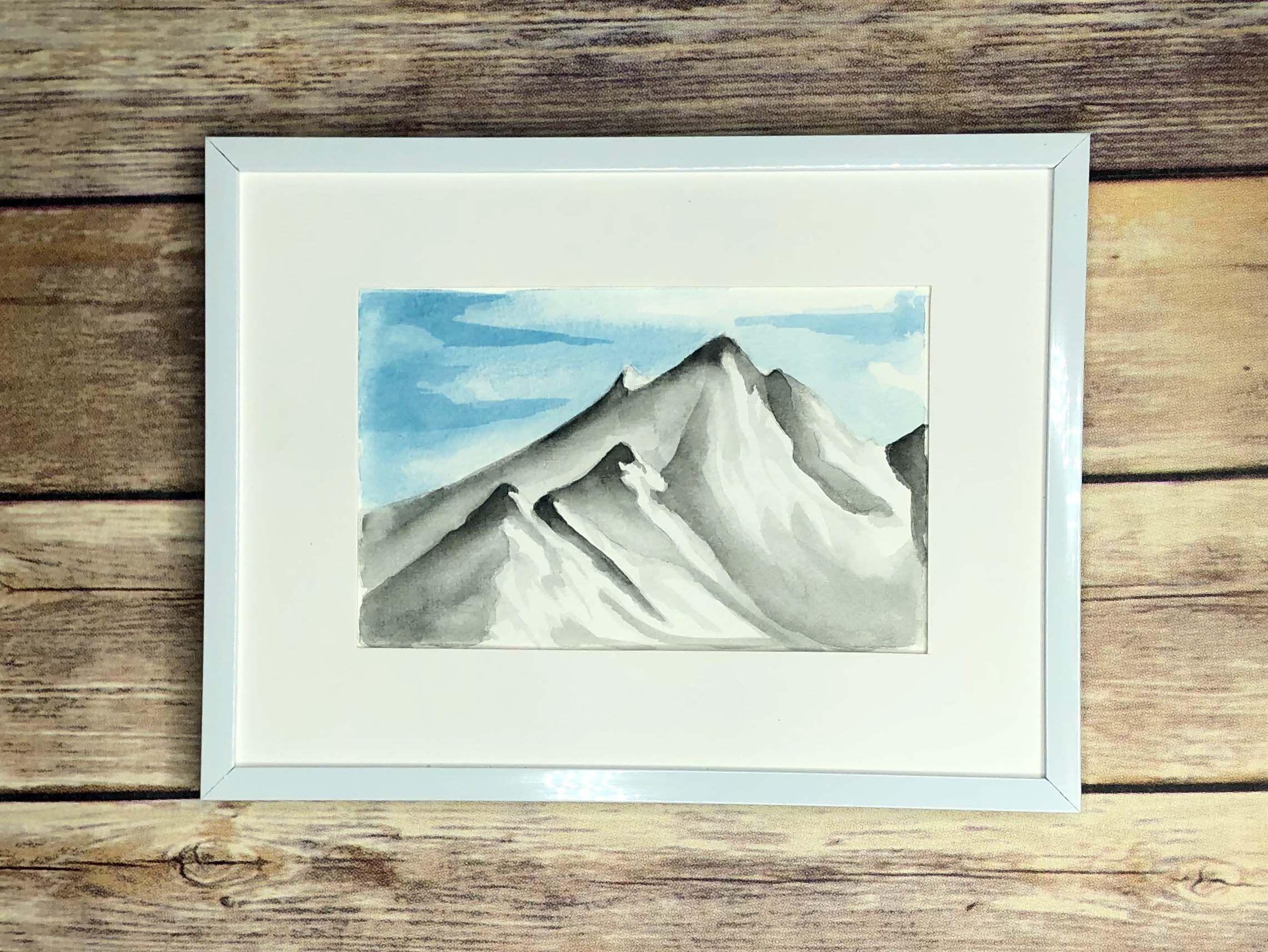 Watercolor Mountain Art Framed Mountain Landscape Painting Mountain Wall Art Mountain Art Landscape Paintings Mountain Paintings