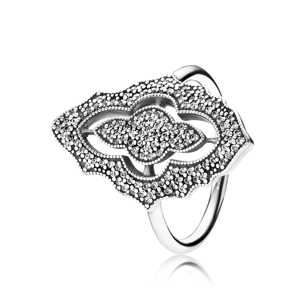 Sparkling Lace Ring Sterling Silver and Clear CZ