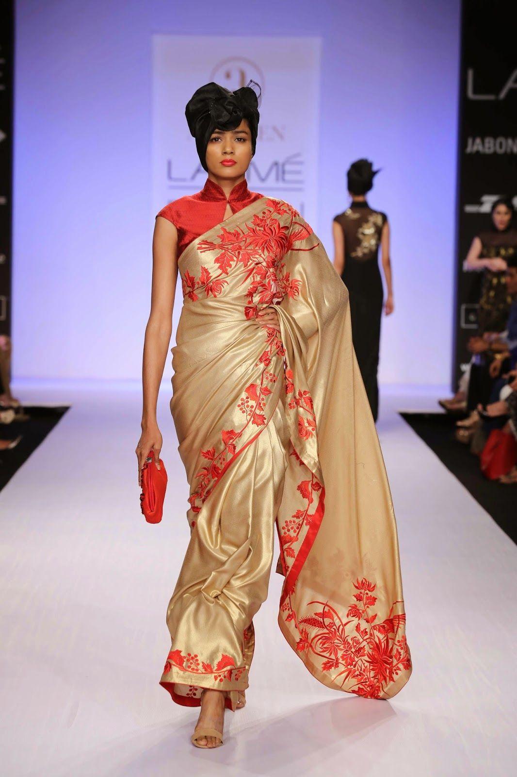 Saree for fashion show chinese collar saree fashion  google search  wei  pinterest