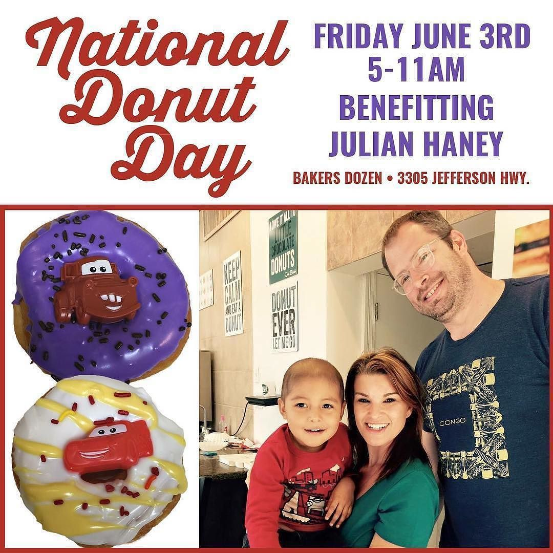 """#eatingNOLA fans @lovebakersdozen needs your help!  Let's pre-order some #Donuts for a great cause!!!  Meet Julian this year's Donut Day special guest! He is receiving treatments for Leukemia and we want to use this day to give back by donating 100% of the sales of his special """"cars"""" themed donut directly to his medical care. You can read more about Julian and place your pre-order for his special donuts at lovebakersdozen.com. Please also share our event with your friends let's come together…"""