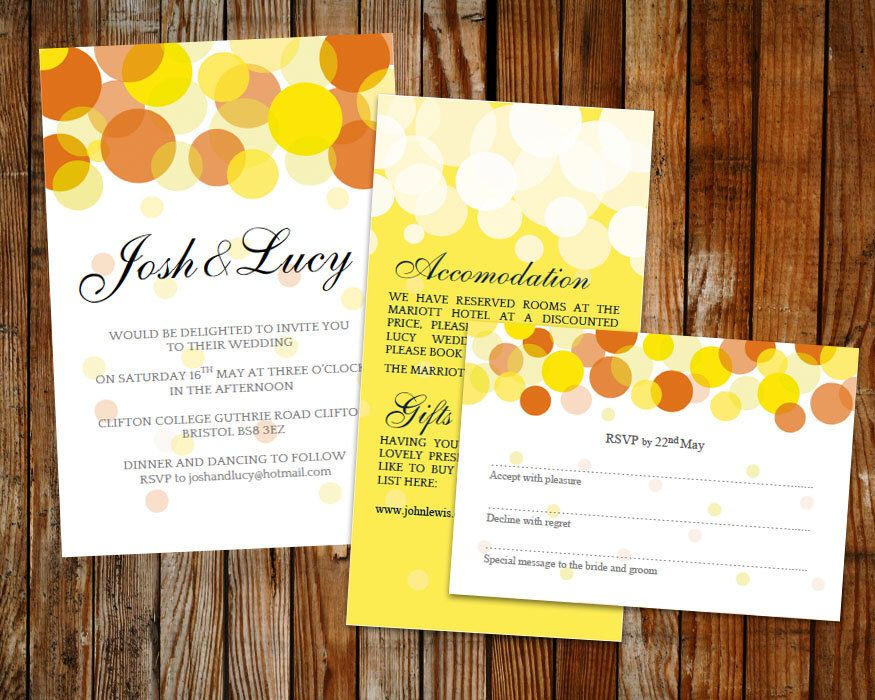 Wedding template set (Beautiful Lights) Orange and