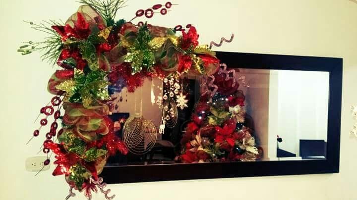 Guirnaldas Para Espejo Decoracion Navidena Arcos De Navidad Ideas De Decoracion De Navidad