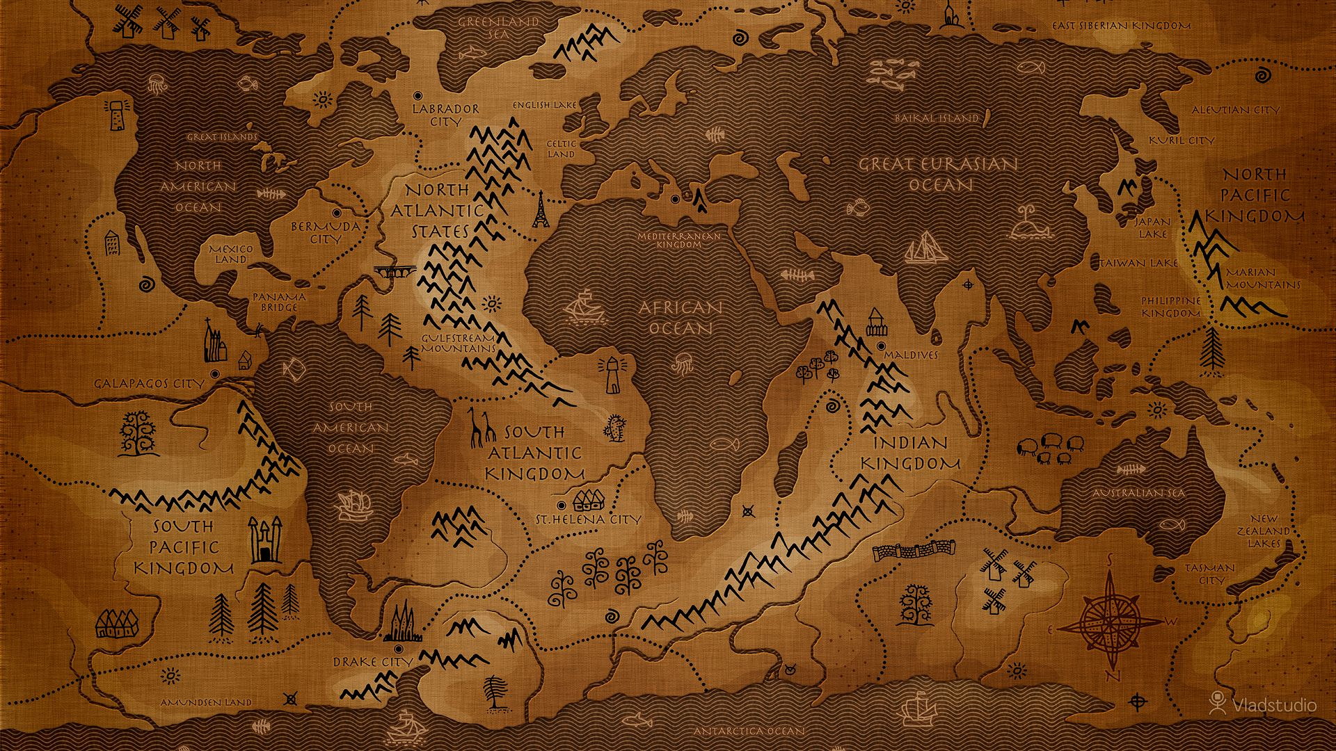 General inverted map world map Vladstudio history