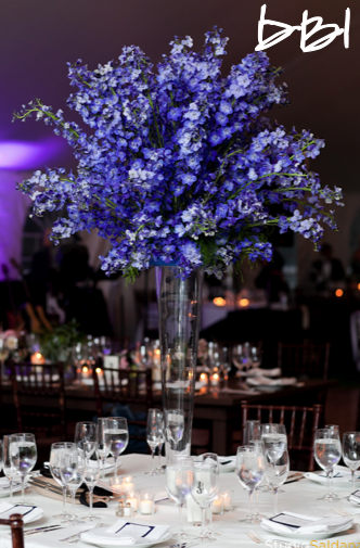 Blue Delphinium For The Ceremony Wrong Style Vase Table Top