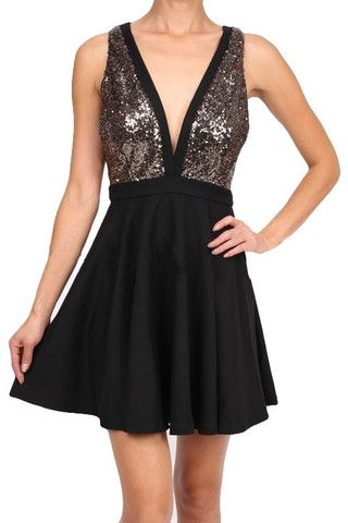 Glitter Glamour Plunge Neck Dress - Black + Gold